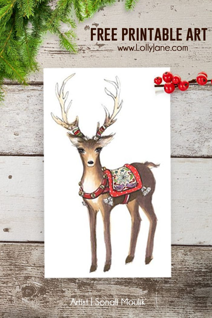 FREE Printable Reindeer Christmas Art