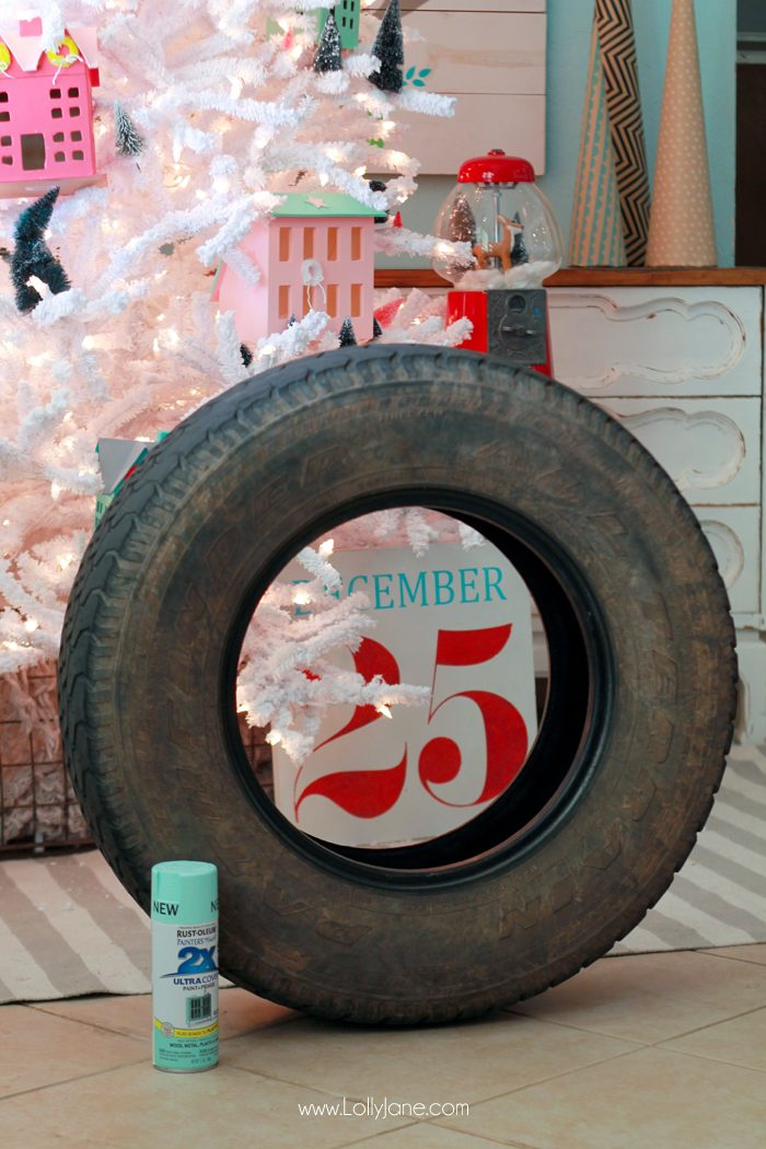 DIY Recycled Tire Christmas Tree Base