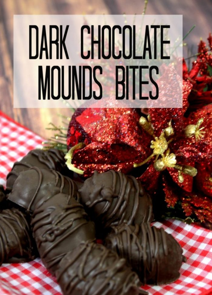 Easy to make Dark Chocolate Mounds Bites. So good! Easy dessert idea, love this easy recipe! Perfect easy Christmas dessert idea, great neighbor gift idea too!