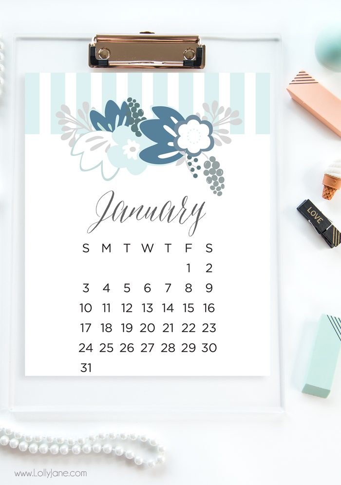 January sample of adorable 2016 free printable calendars! Love these free printable 2016 calendars | lollyjane.com