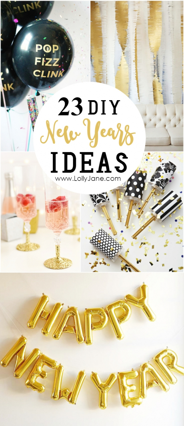 23 DIY New Years Ideas. Cute New Years party and decor ideas to kick off the new year!