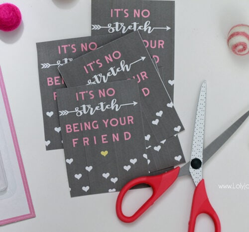 """It's no stretch"" printable Valentine's tags"