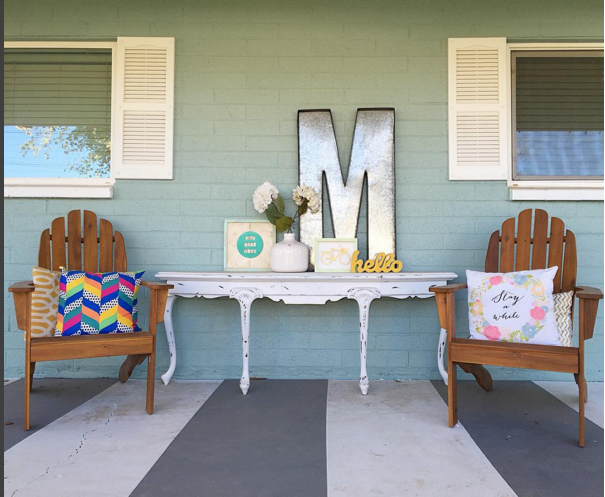 Gray and white striped painted porch tutorial. So easy to get this look! Click to copy this painted porch, so cute! Great home decor project!