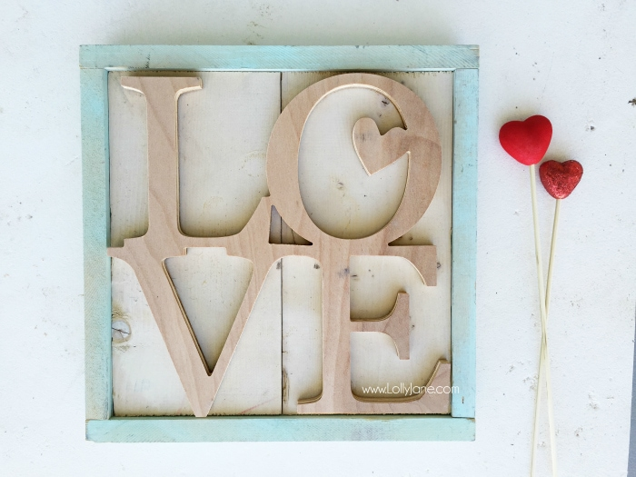 Adore this LOVE wood cutout! So cute framed! Adorable Valentine's Day decor!