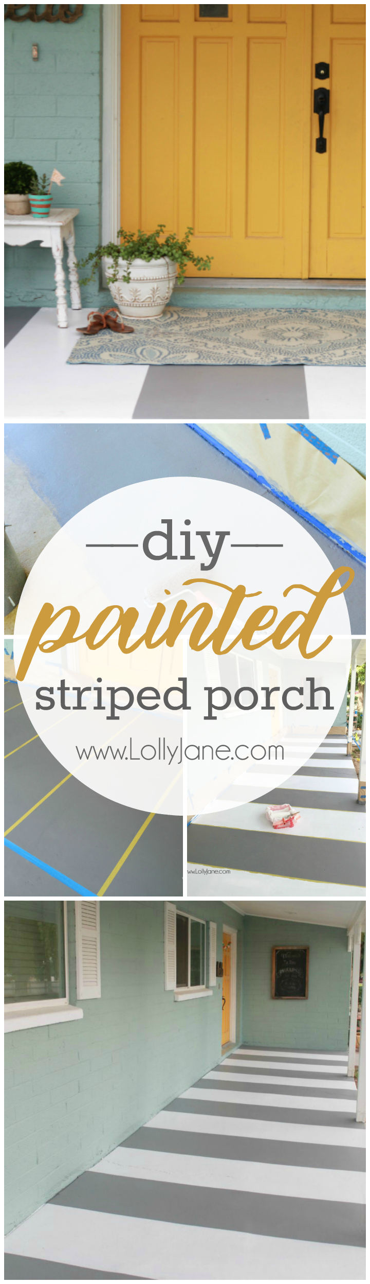 How to paint stripes on a concrete porch. Love this easy tutorial with great tips to stripe your concrete porch!