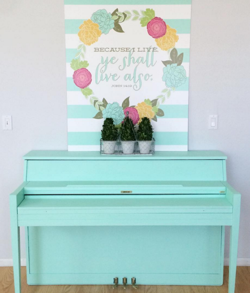 Because I Shall Live, Ye Shall Live Also Easter print. Darling religious Easter mantel. LOVE the aqua piano makeover too!