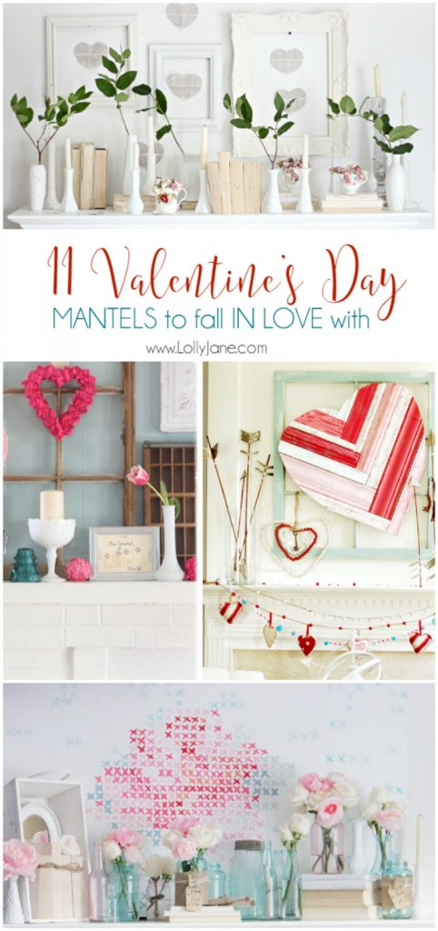 11 Valentine's Day mantels. A roundup of 11 Valentine's Day mantels to fall in love with! Easy decor to duplicate the look of. Adore these pretty Valentines Day decor ideas!
