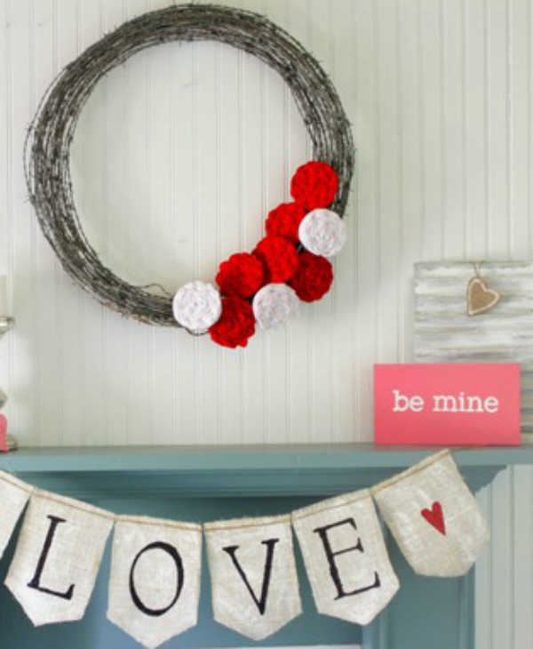 Easy Valentine's Day mantel, so cute!