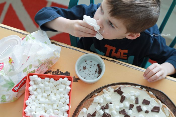 Dang delicious S'mores Cookie Pizza... SO SO GOOD!