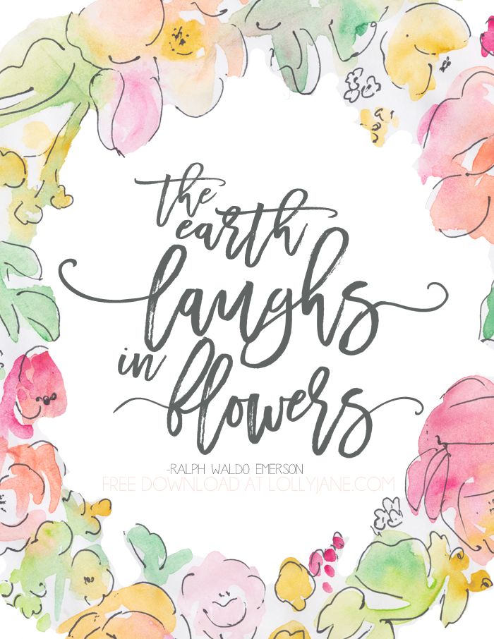 "Pretty FREE Spring Printable ""The earth laughs in flowers"""