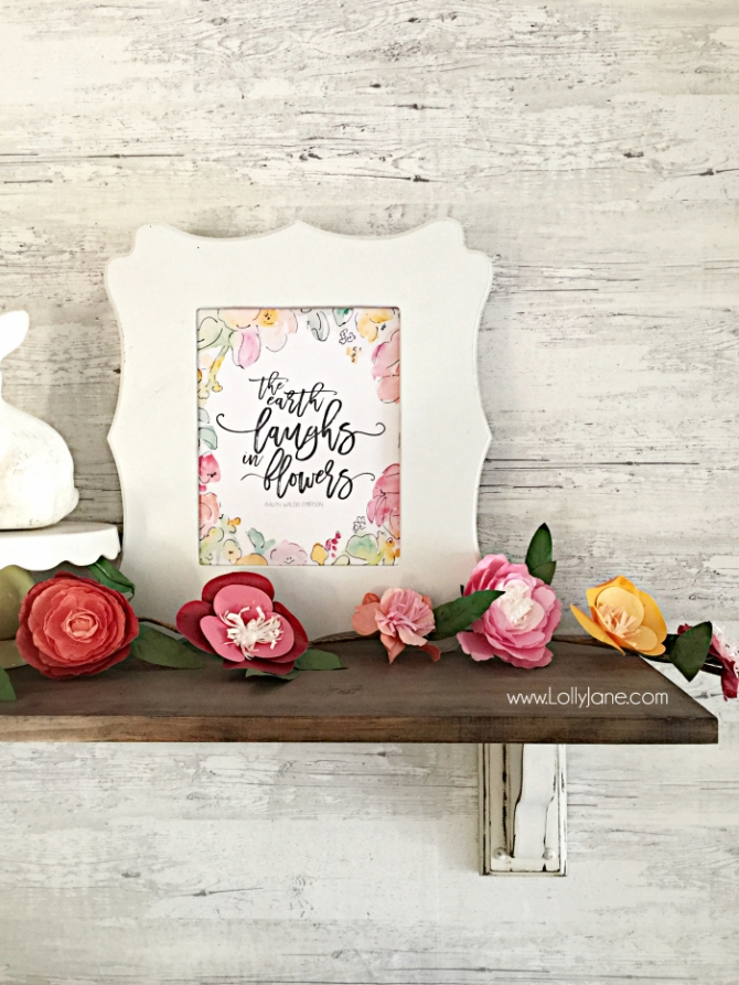 The Earth laughs in flowers free printable. Pretty spring free printable. Love this spring free printable!