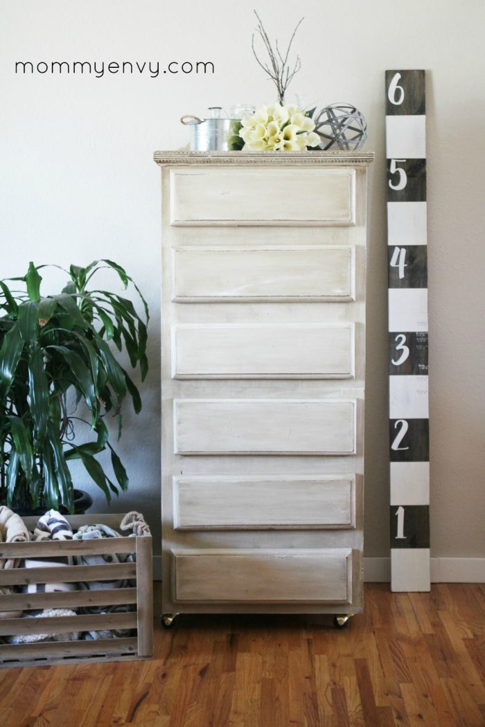 Pretty Antique White Dresser Makeover  via Mommy Envy