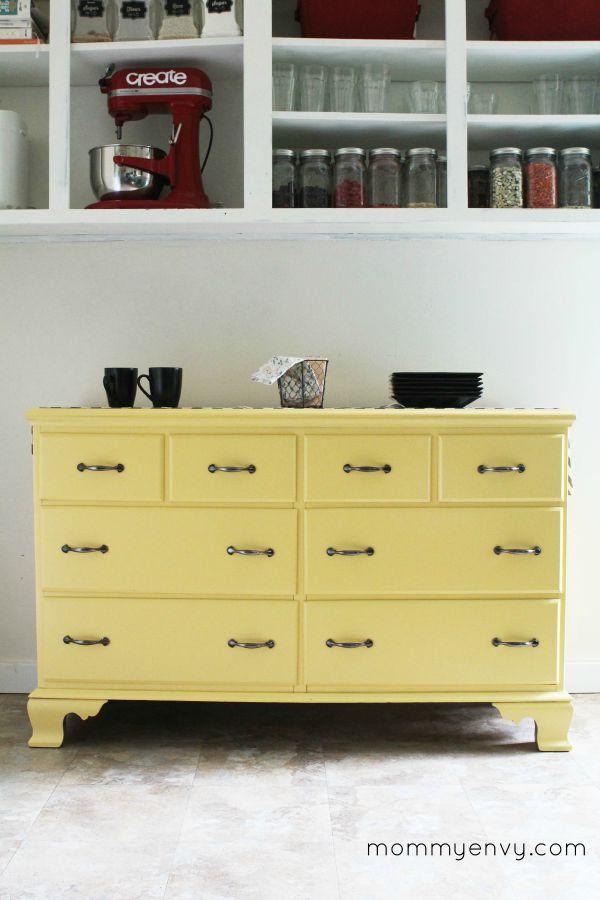 yellow kitchen dresser makeover
