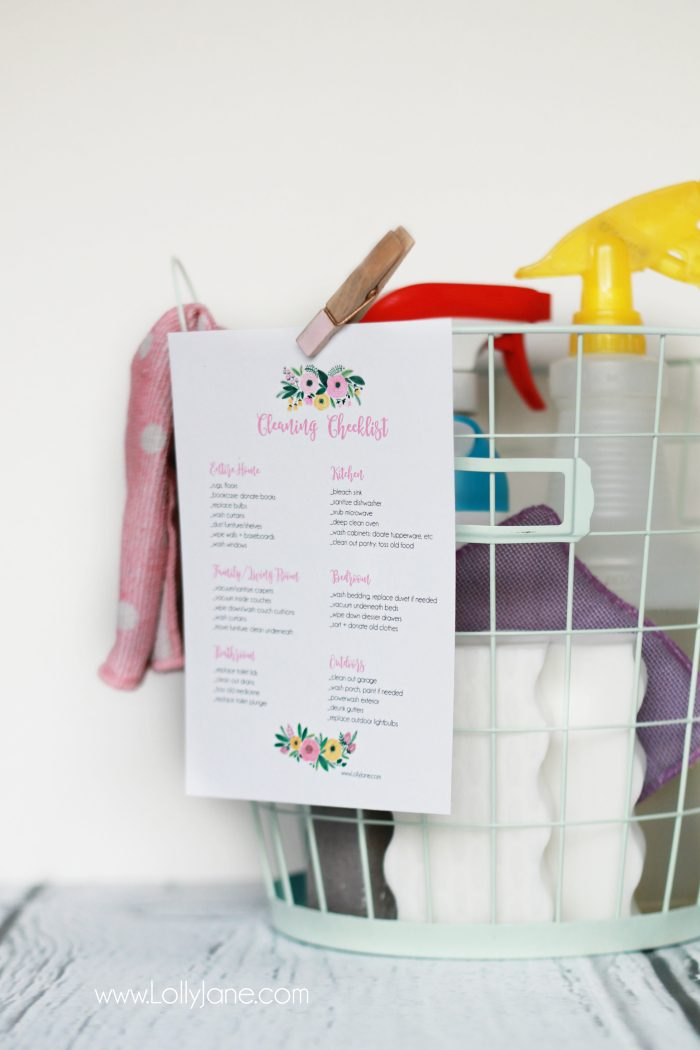 Easy spring cleaning checklist for the whole house! Easy way to break down cleaning without feeling overwhelmed. Cute spring cleaning checklist! Free printable cleaning checklist!