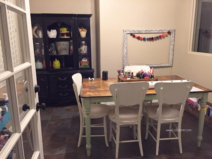 BEFORE- Click to see the bright and cheery AFTER with polka dot wallpaper!