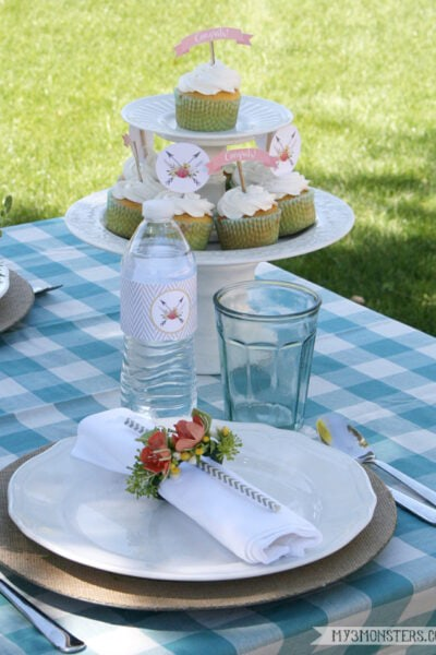 FREE Baby Shower cupcake toppers and water bottle wrappers