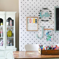 wallpaper craft room makeover