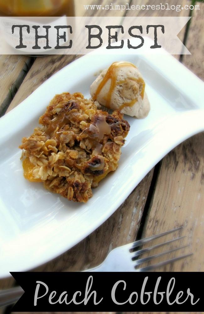 Peach Cobbler Dessert via SimpleAcresBlog.com. YUM!