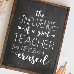 """the influence of a good teacher can never be erased"" printable art"