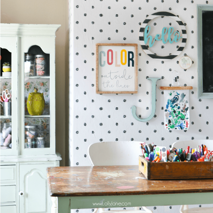 Peel and Stick Wallpaper Craft Room Makeover
