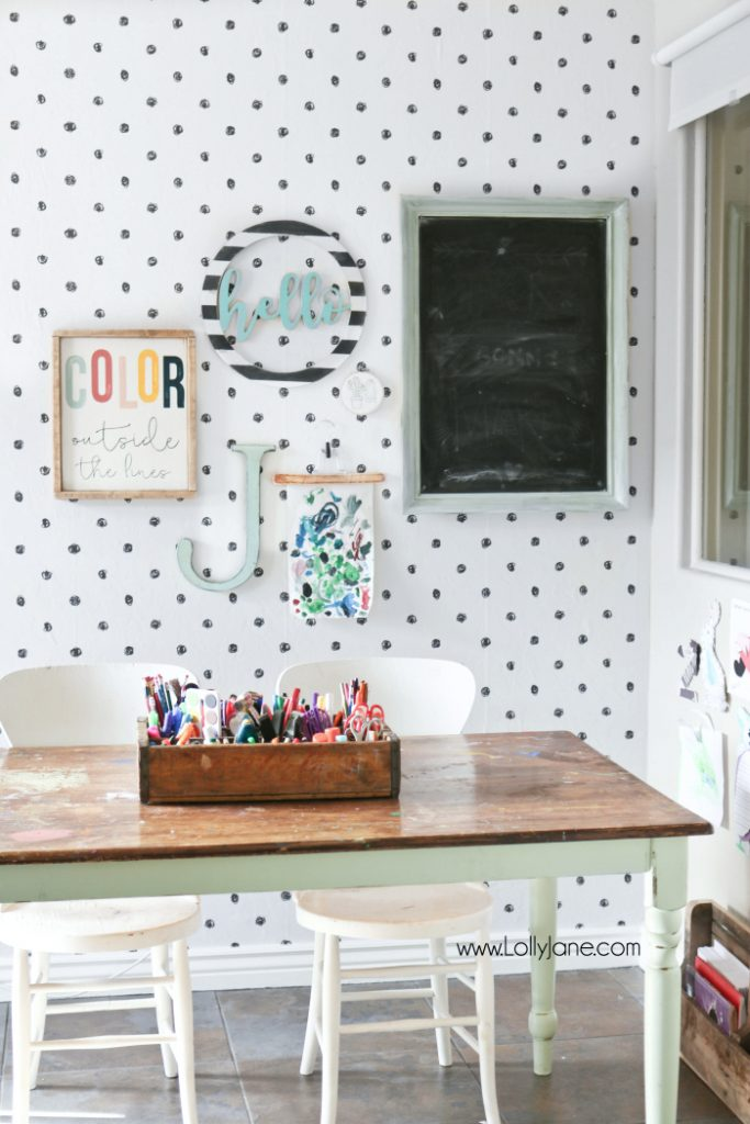 Love this colorful craft room makeover with peel and stick wallpaper ideas. Love this scribble dot wallpaper, so easy to apply! Fun craft room makeover! #wallpaper #polkadotwallpaper #peelstickwallpaper #scribbledotwallpaper #peelstickwallpapermakeover #stickonwallpaper
