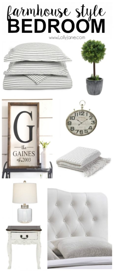 Farmhouse style bedroom accessories. Want to replicate the popular farmhouse style bedroom? Here are some great tips on what to buy to get that great Fixer Upper farmhouse style decor!