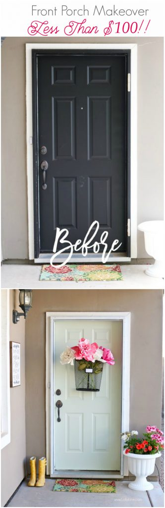 Easy Springy Porch Refresh... love this Door Makeover! Great front porch decor ideas!