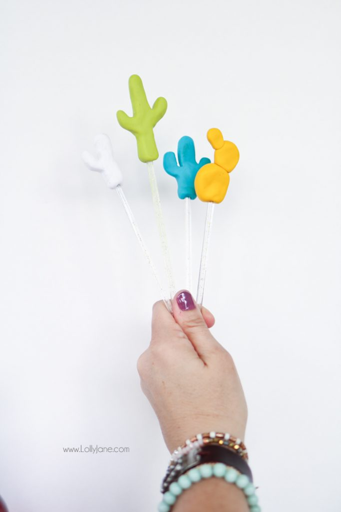 Cute DIY Cactus Drink Stirrer Stick