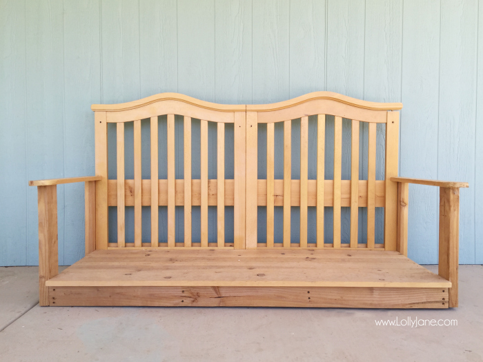 Baby crib to porch swing lolly jane for Easy porch swing