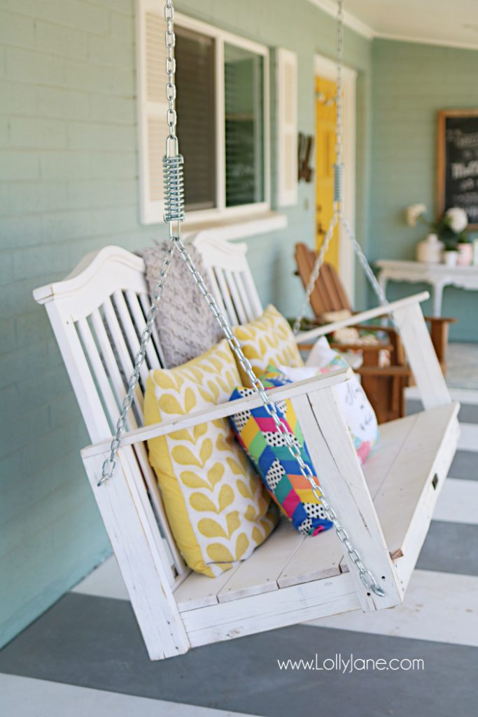 See how easy it is to upcycle a baby crib to porch swing tutorial. Don't throw away your kid's baby crib, upcycle it into a meaningful porch swing to create new memories! Great DIY porch swing crib idea! Love this baby crib porch swing makeover!