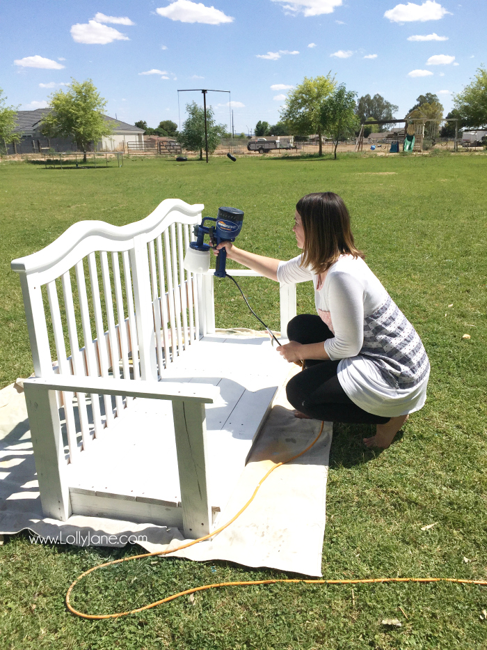 See how easy it is to upcycle a baby crib to porch swing tutorial. Don't throw away your kid's baby crib, upcycle it into a meaningful porch swing to create new memories! Great DIY porch swing crib idea!