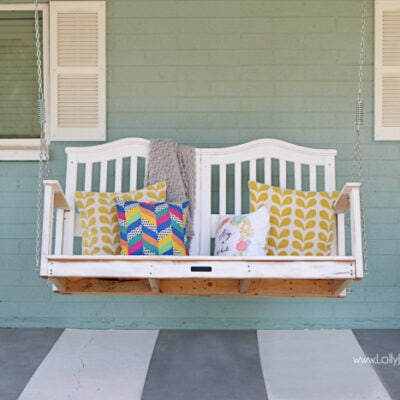 We turned our baby crib into a porch swing!