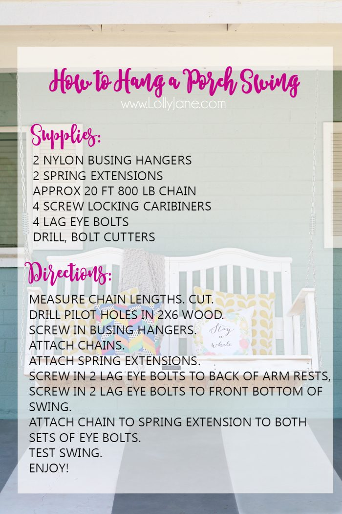 How to hang a porch swing safely! No hardware kit necessary, the must use porch swing hardware, no wasted supplies. Great tips for porch swing supplies!