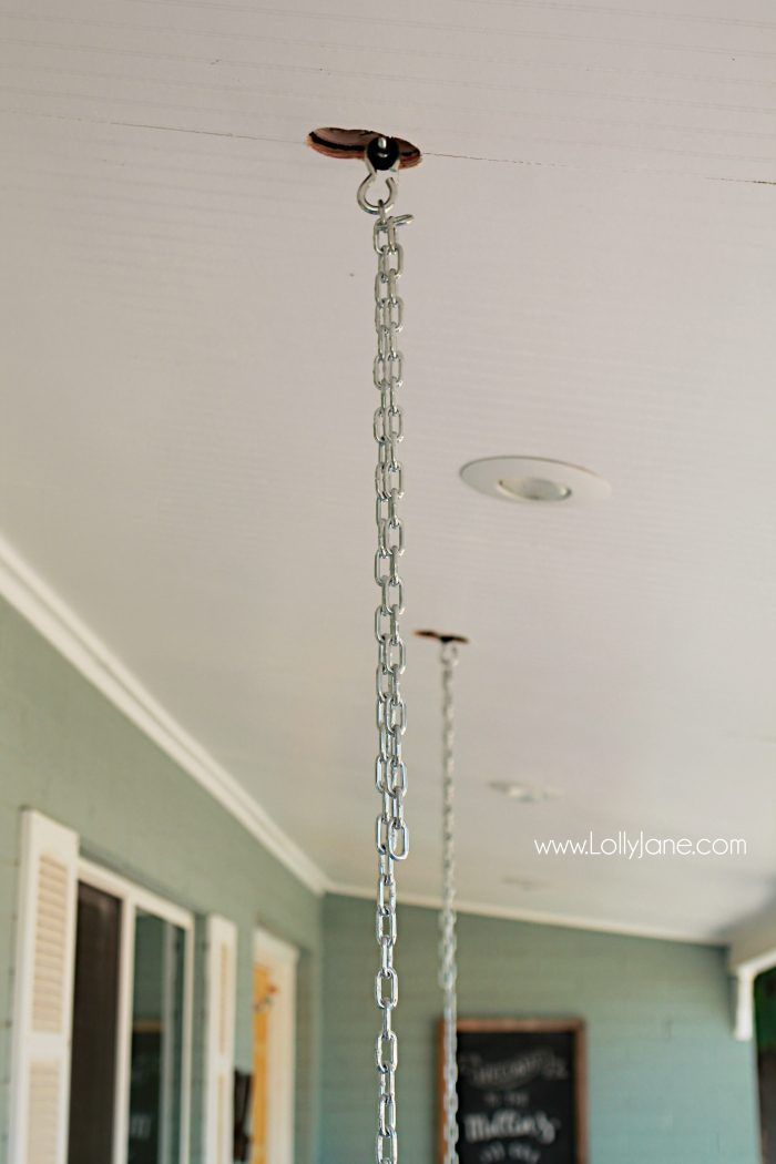 Tips To Hang A Porch Swing Lolly Jane How From Ceiling