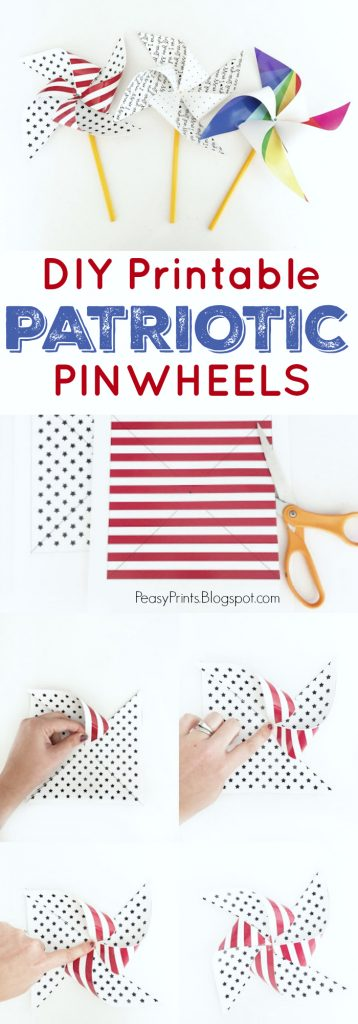 DIY Printable Patriotic Pinwheels via PeasyPrints.blogspot.com