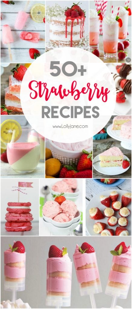 50+ strawberry recipes! Strawberry drinks, strawberry cakes, strawberry cookies, strawberry jello, the list goes on! Lots of yummy summer recipe ideas! Love these fresh strawberry recipe ideas!!