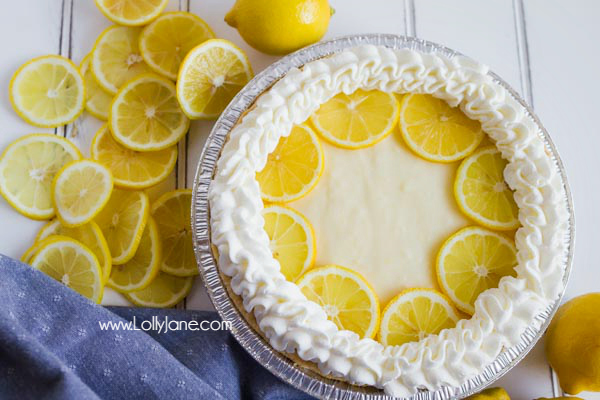 Lemon cream pie recipe, so so good! Just like Grandma used to make! A simple lemon pie is only a few ingredients away! This Lemon Cream Pie comes together with very little prep, is practically fail-proof, and is a pie everyone will love! Great summer recipe!