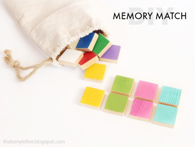 DIY wood memory match game. Easy wood craft project idea! Fun kid activity, easy kids craft idea.
