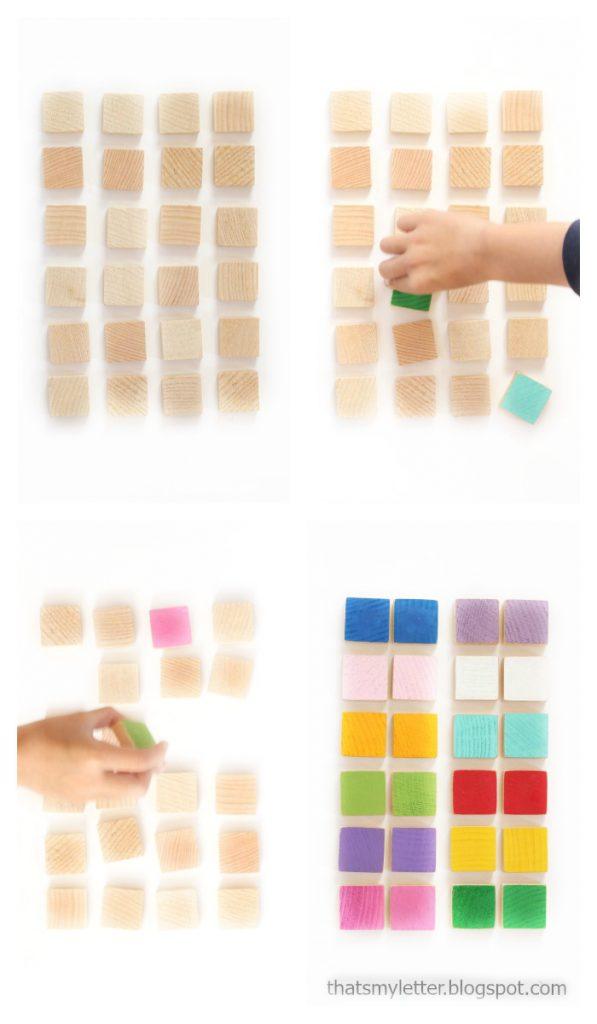 DIY wood memory match game. Easy wood craft project idea! Fun kid activity, easy kids craft idea.
