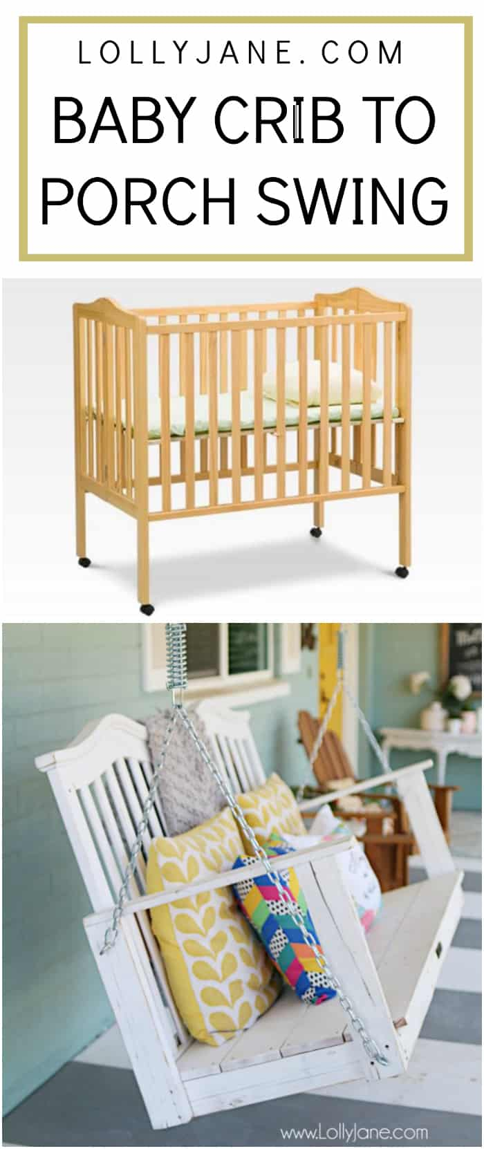 Check out this baby crib turned porch swing using scrap wood and white paint! Don't let your memories of your baby fade, turn their first bed into a lifelong swing to keep making memories! #babycribporchswing #diycribswing #porchswing #diyporchswing #cribporchswing