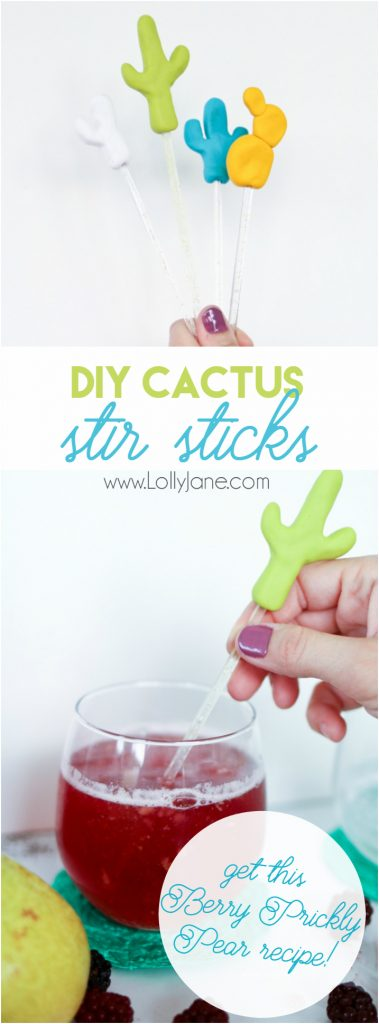 Cute DIY Cactus Drink Stirrer Stick tutorial. Grab this yummy Berry Prickly Pear recipe too! Great summer drink recipe! Love this cactus party decor!!