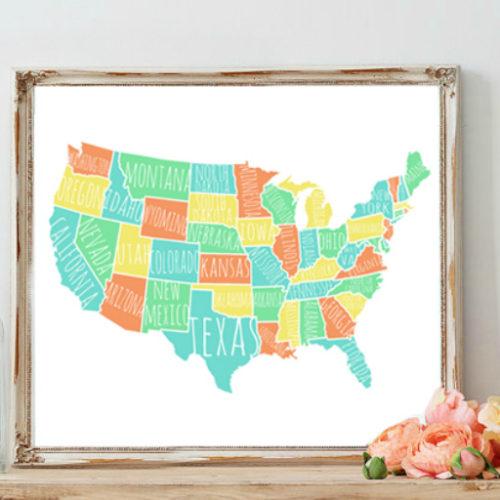 Colorful USA Map free printable
