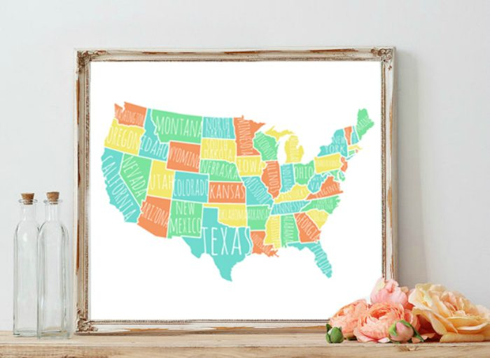 Colorful Usa Map Free Printable Love This Typography Free Print With All The Us States