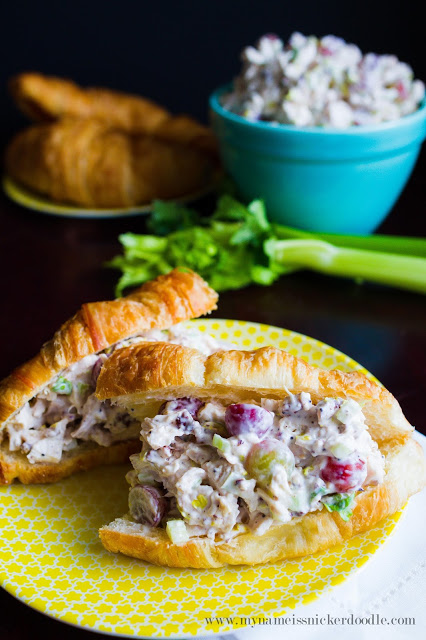 Light summer recipe idea. Love this Sonoma Chicken Salad recipe, yum! Great light lunch idea, perfect for a baby shower or bridal shower recipe!