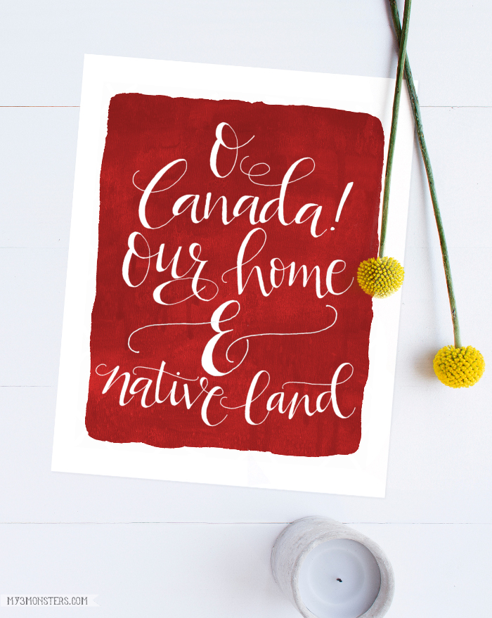 Canadian Free Printable | Love this Oh Canada our home and native land watercolor print. Great patriotic Canadian home decor!