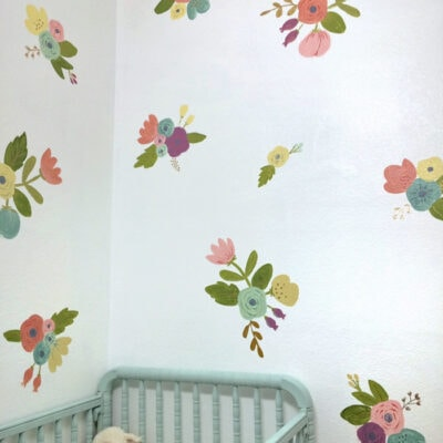 Easy Painted Floral Faux Wallpaper