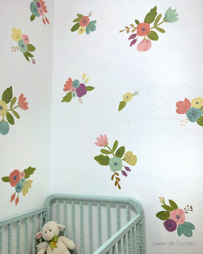 Easy Floral Painted Faux Wallpaper Tutorial via sweetlillydoodles.etsy.com