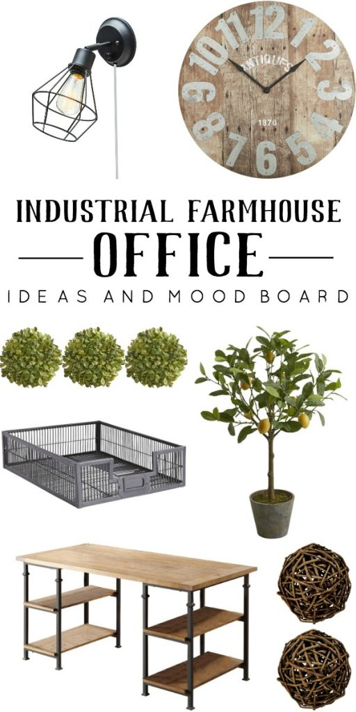 Love this industrial farmhouse office mood board, great ideas!