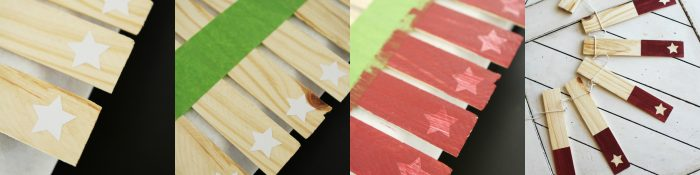 DIY wood shim star banner. Love this creative 4th of July banner decor! Cute star home decor idea! Fun 4th of July craft!!