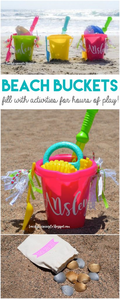 How to assemble beach buckets for maximum kids activity ideas! Includes a free printable shopping list to fill it! Great summer kids activity ideas! Endless summer fun!